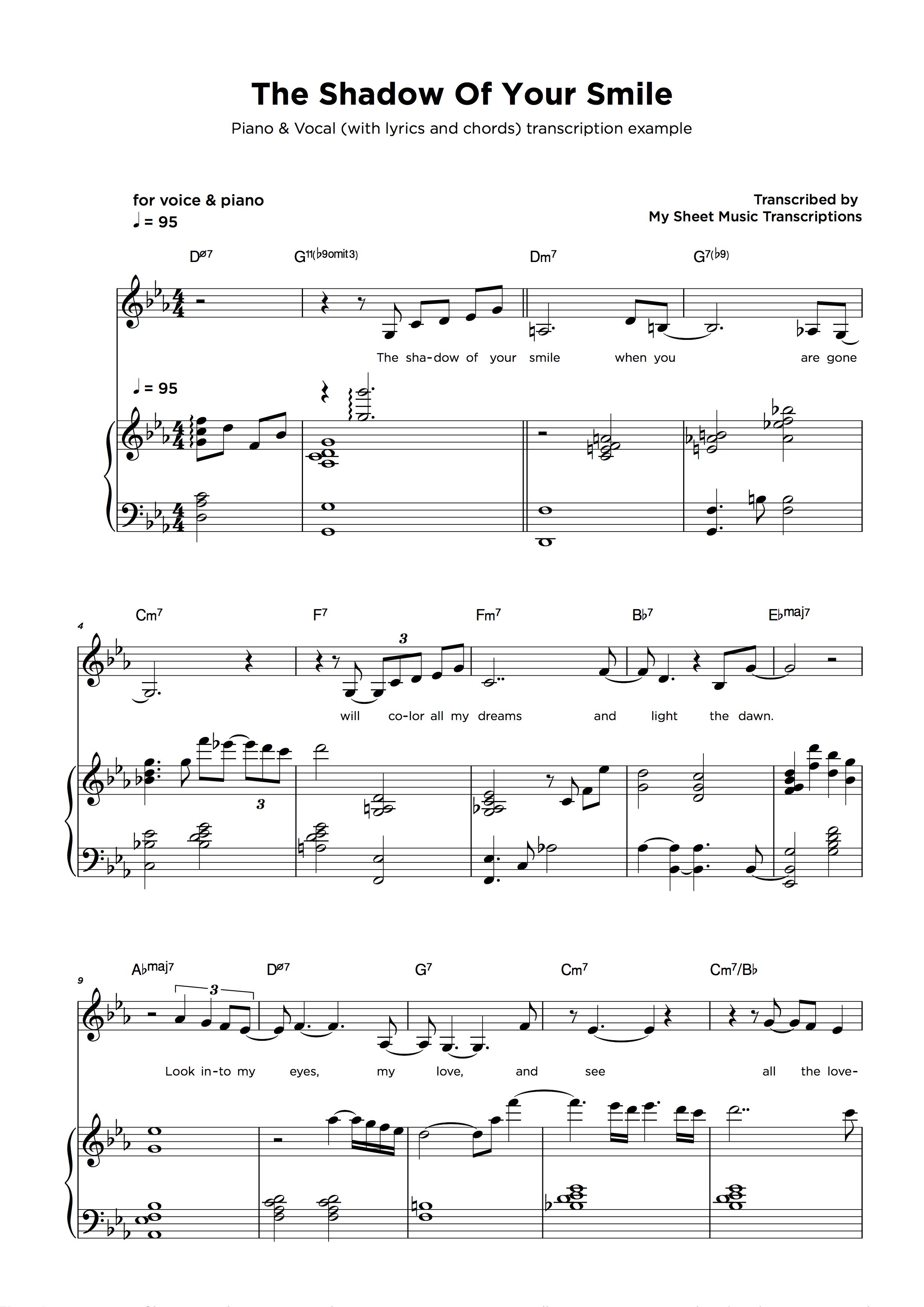 Music Transcription Service Sample - Piano & Vocal