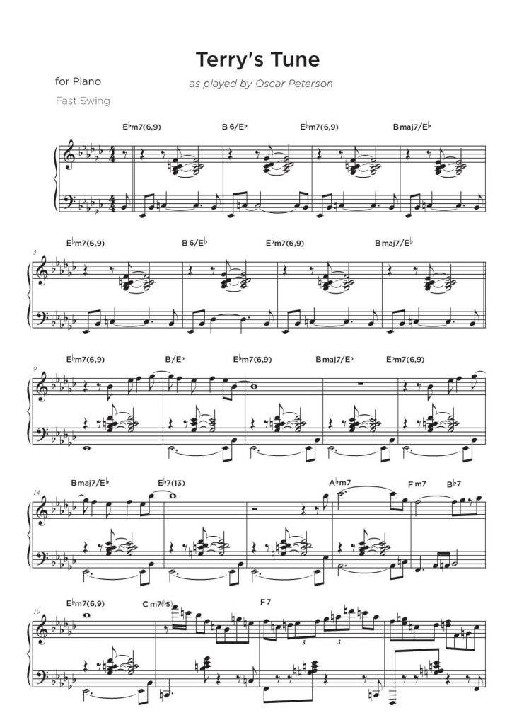 Piano jazz solo transcription sample