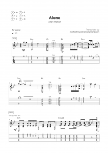 Alone - Guitar sheet transcription service