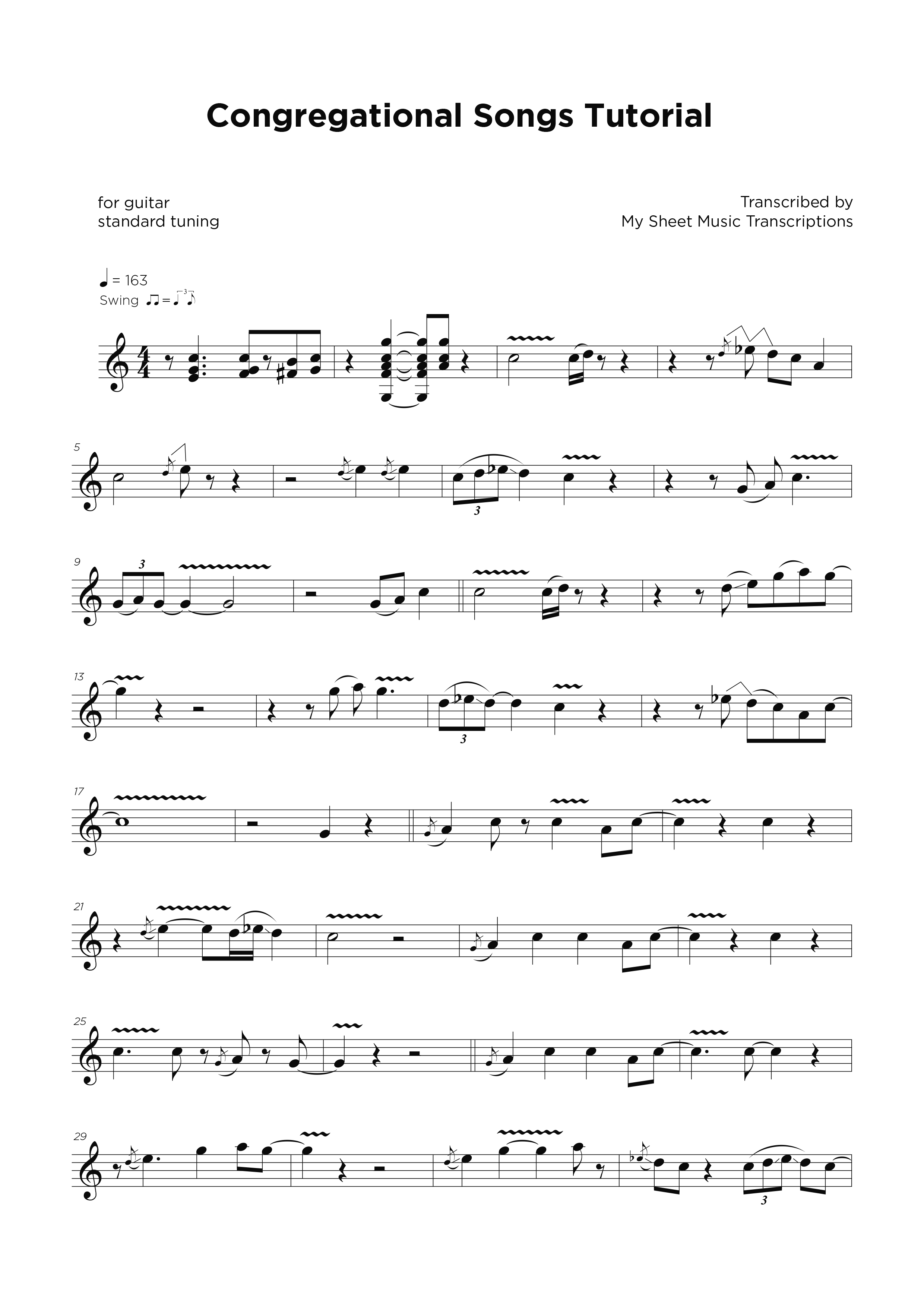 Congregational Songs tutorial - Guitar sheet transcription service