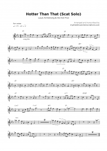 Hotter Than That - Louis Armstrong and His Hot Five - Vocal lead sheet music
