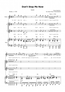 Don't Stop Me Now - Queen - Backing vocals sheet music
