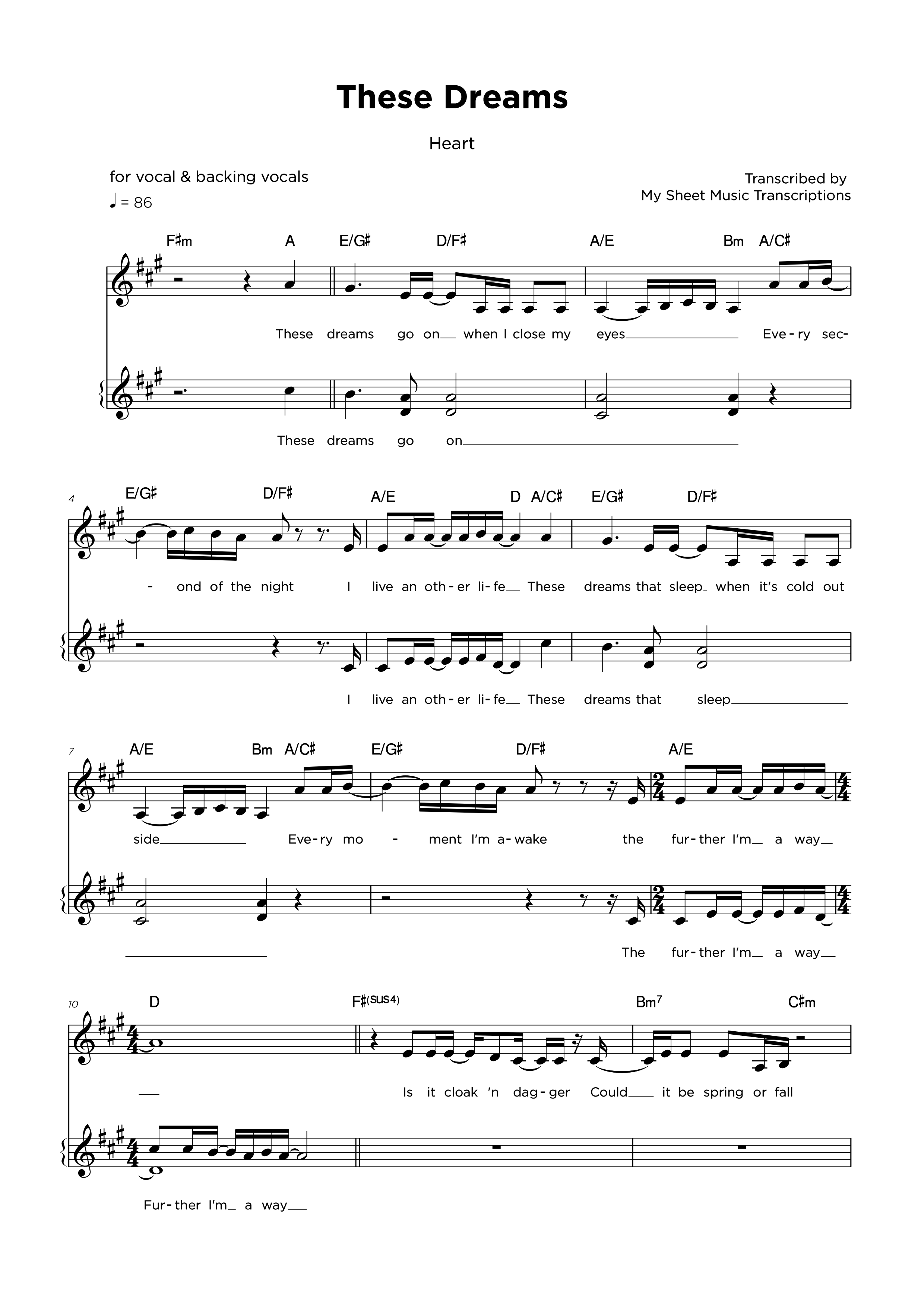 These Dreams - Hart - Backing vocals sheet music