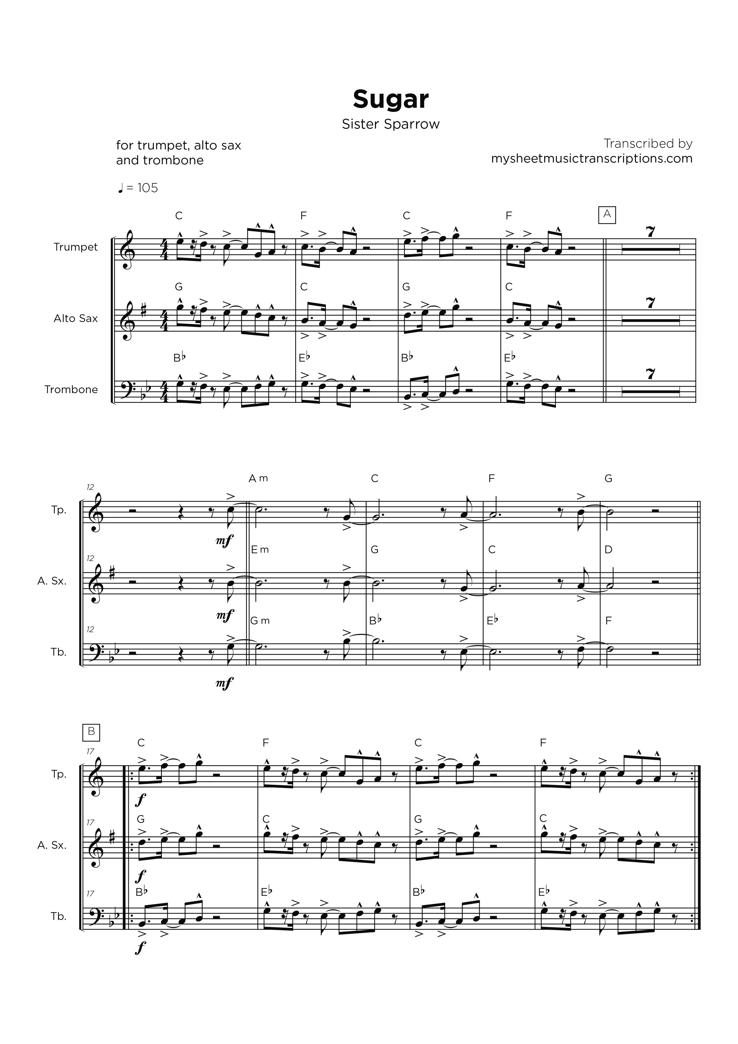 Sugar - Sister Sparrow - Horn section sheet music
