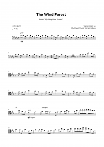 The Wind Forest - From My Neighbor Totoro - Cello sheet music