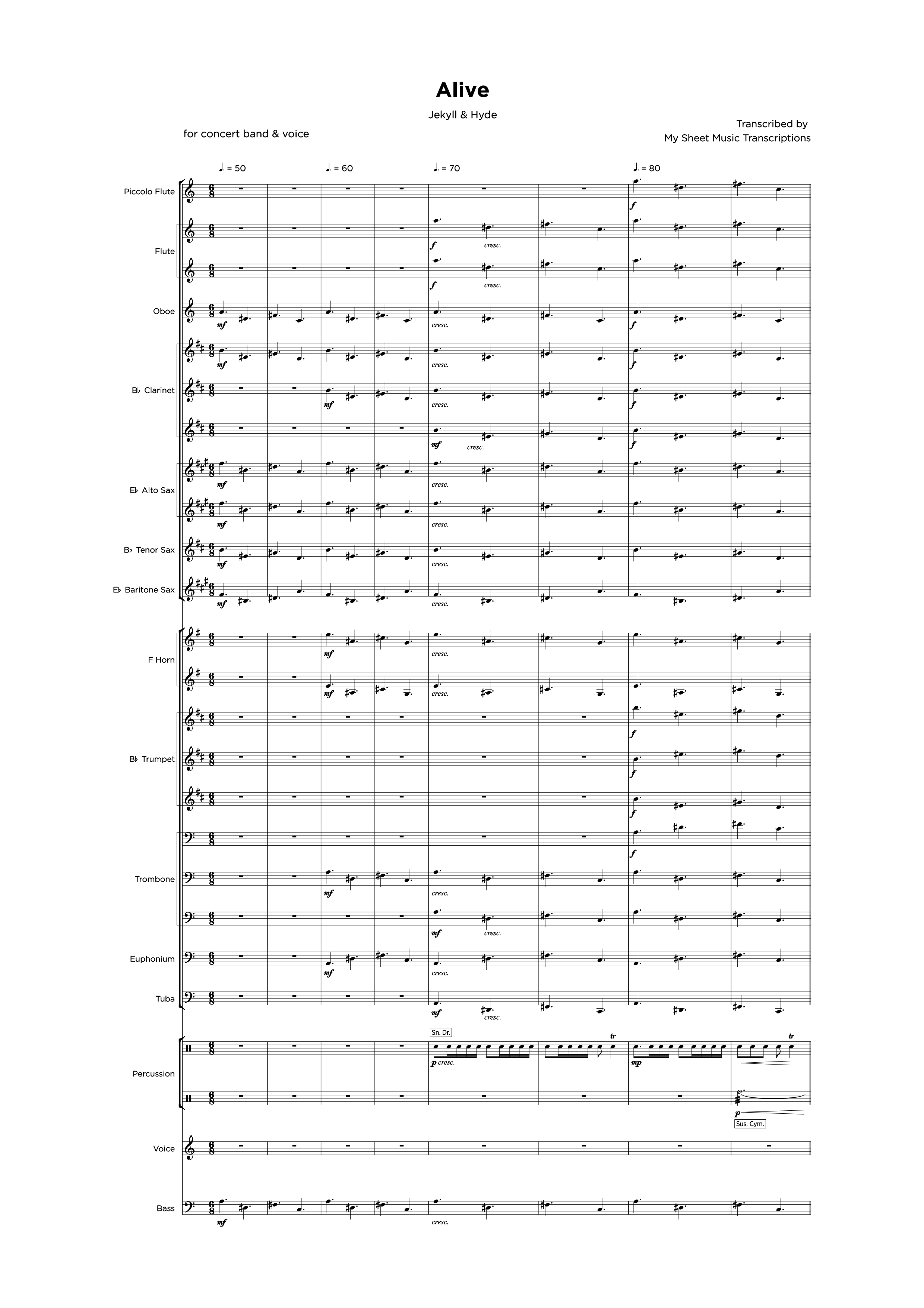 Alive - Jekyll & Hyde - Concert & Brass band sheet music