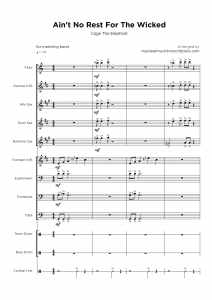 Ain't No Rest For The Wicked - Cage the Elephant - Concert & Brass band sheet music