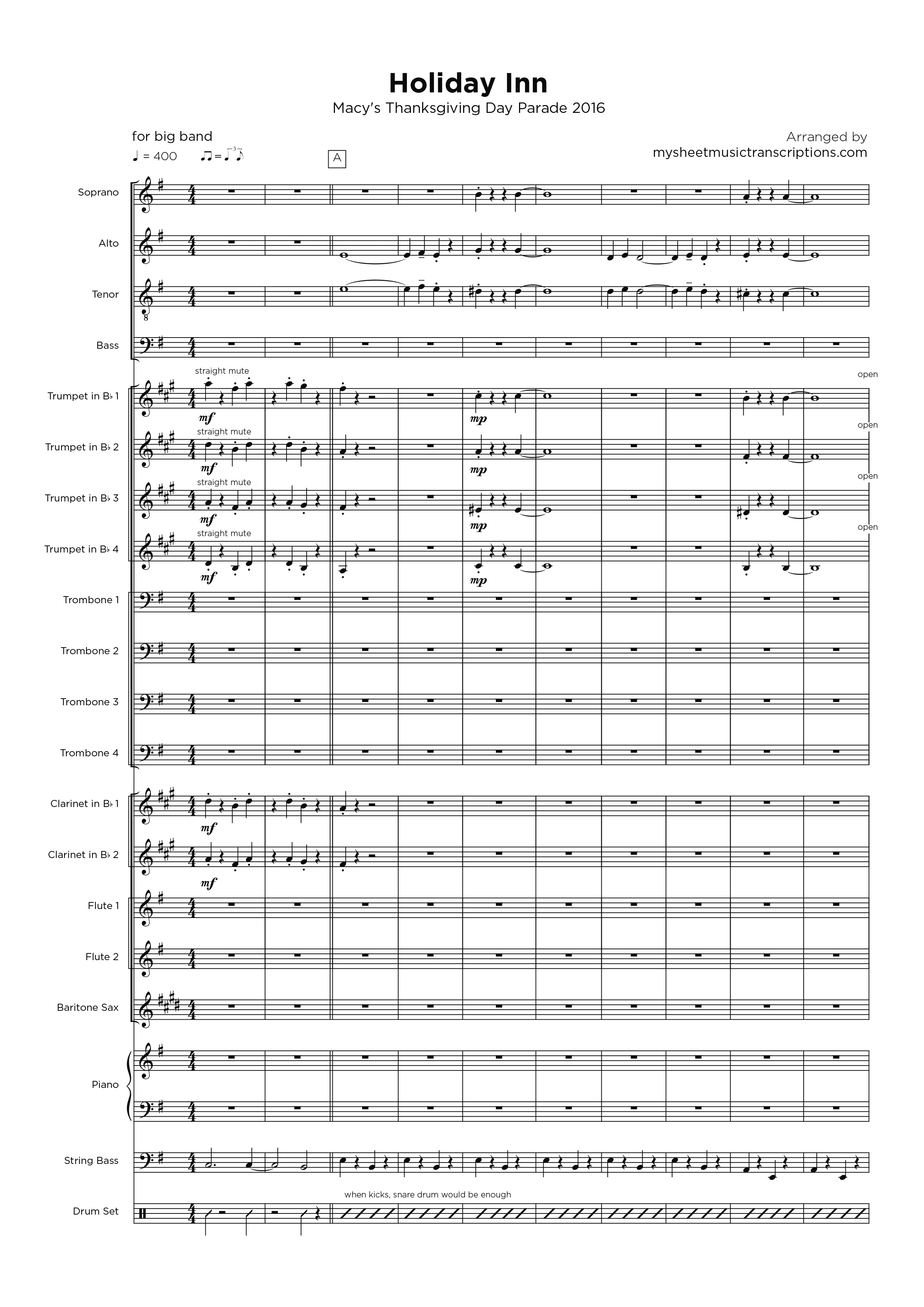 Holiday Inn - Macy's Thanksgiving Day Parade 2016 - Big Band transcription sheet