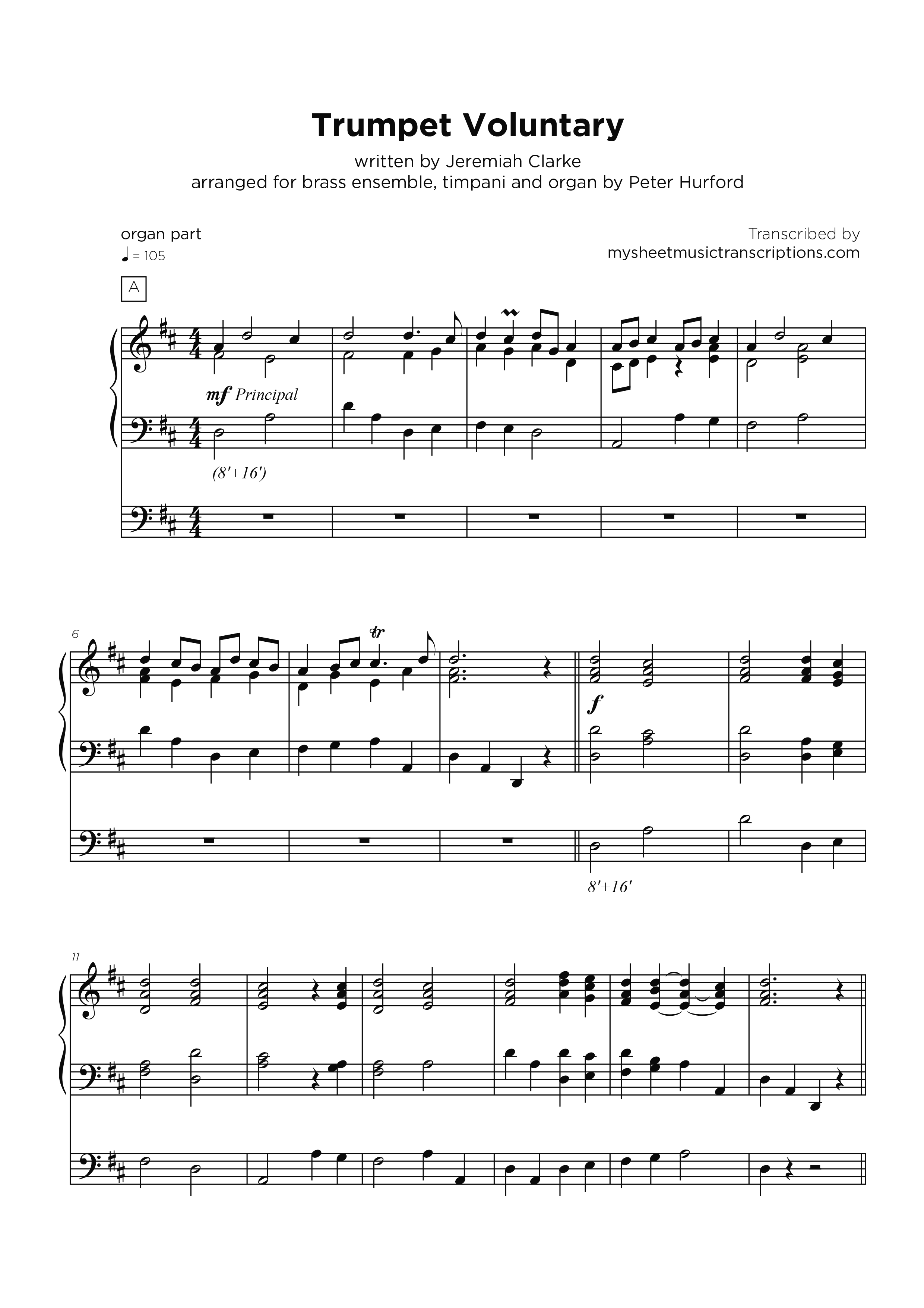 Trumpet Voluntary - Clarke - Organ sheet music