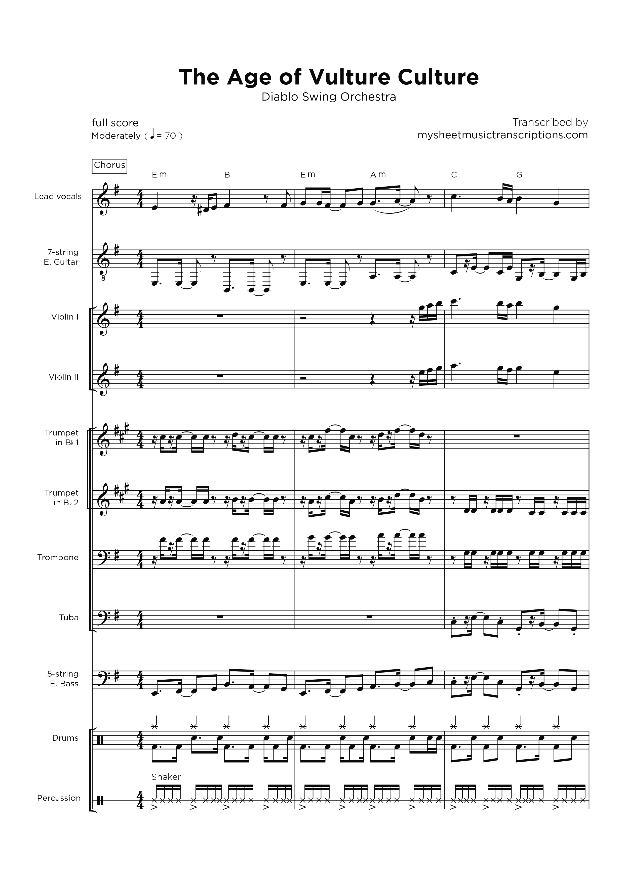 The Age of Vulture Culture - Full Band sheet music
