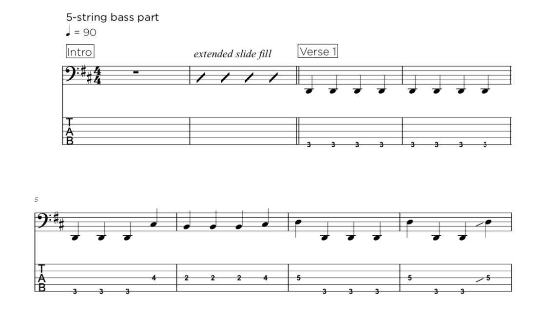 4, 5 or 6-string bass tab transcriptions