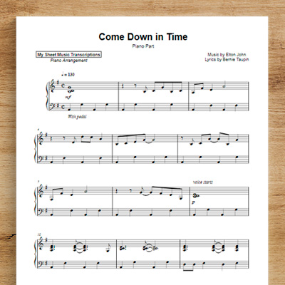 Come Down In Time [piano part] - Elton John