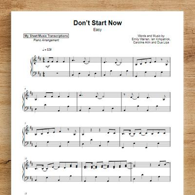 Don't Start Now [easy] - Dua Lipa