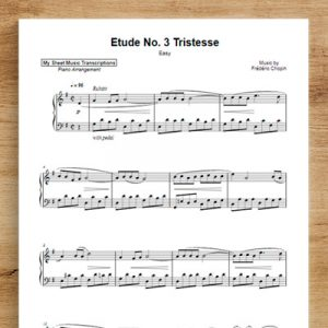 Etude in E Major, Op. 10, No.3: Tristesse [excerpt] [easy] - Frédéric Chopin