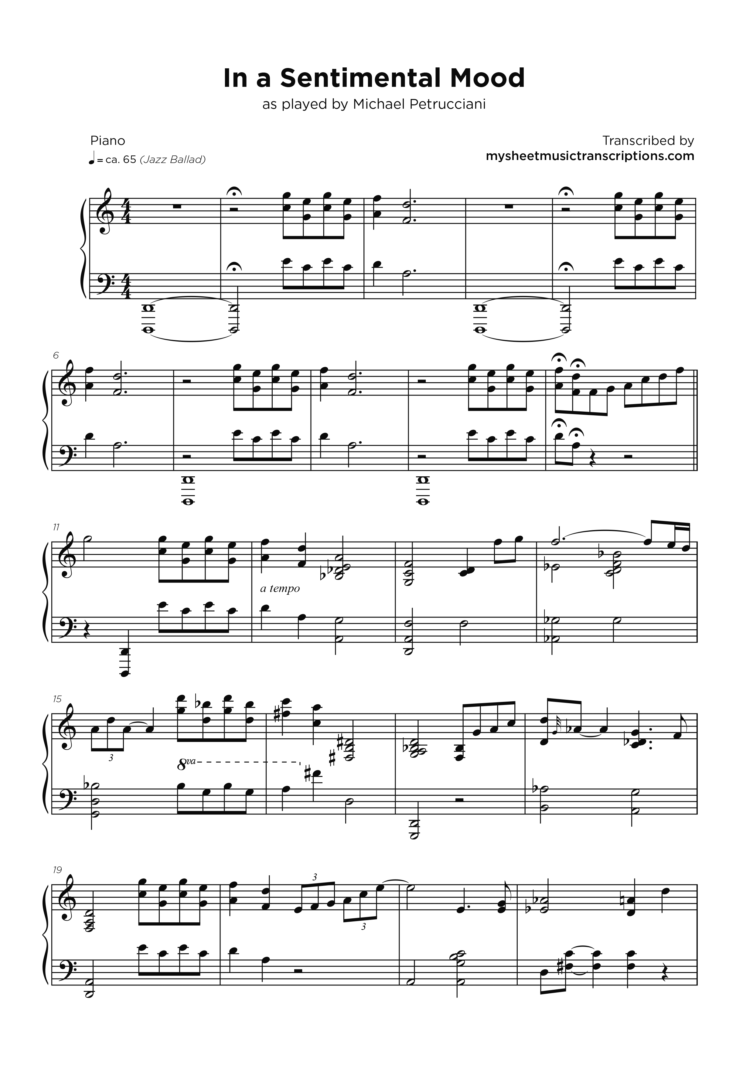 In a Sentimental Mood - Michael Petrucciani - My Sheet Music Transcriptions