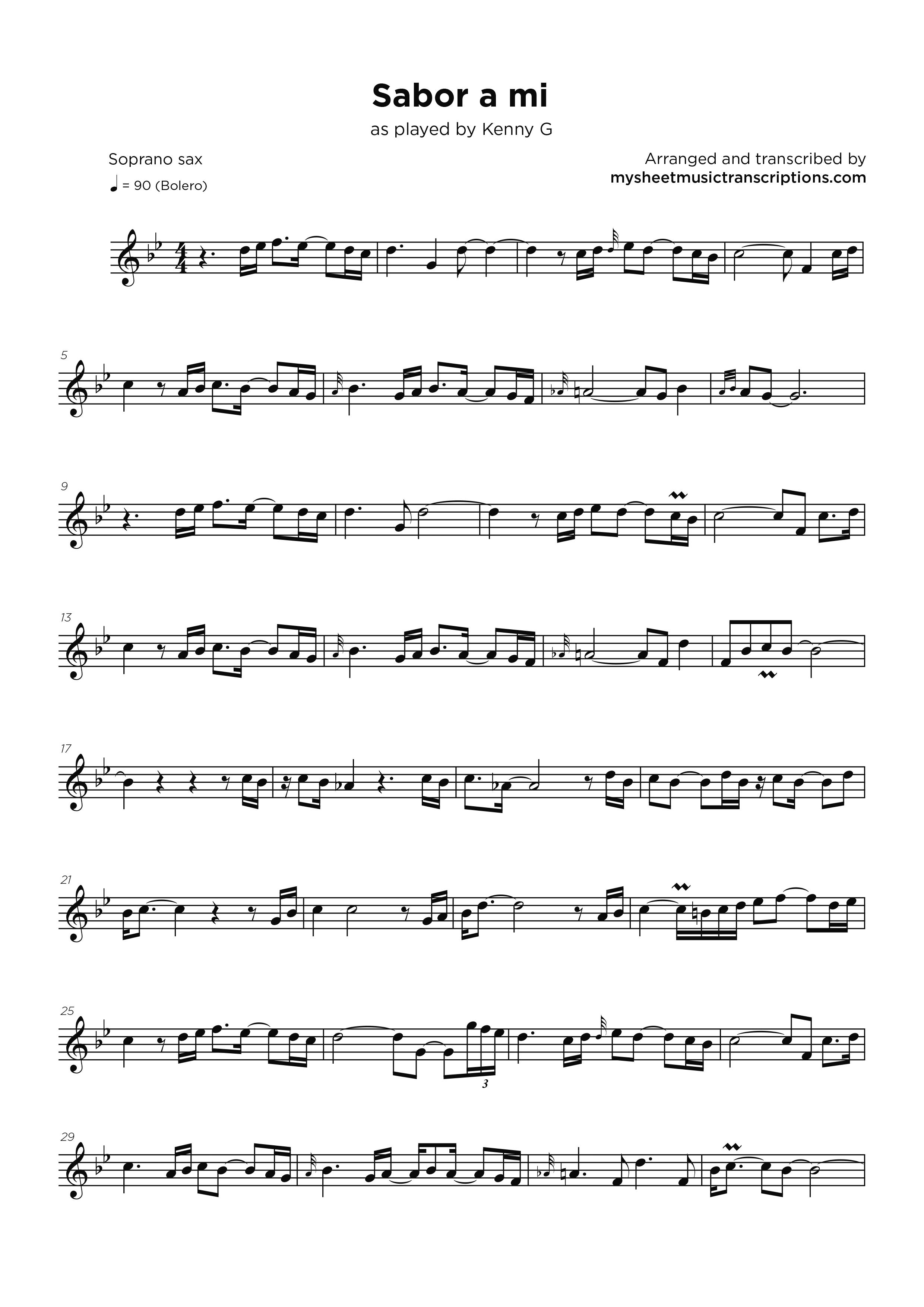 Sabor a mi - Kenny G - My Sheet Music Transcriptions