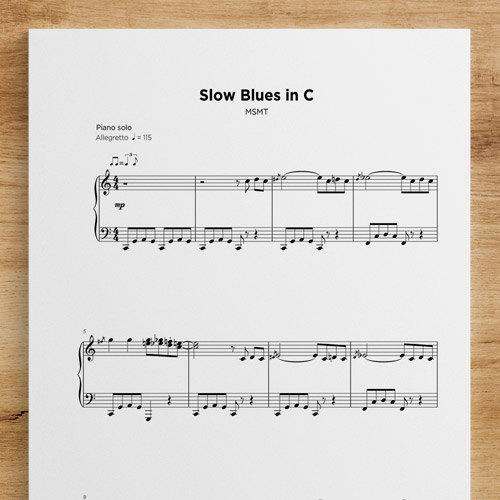 Slow Blues in C - Sheet Music by My Sheet Music Transcriptions