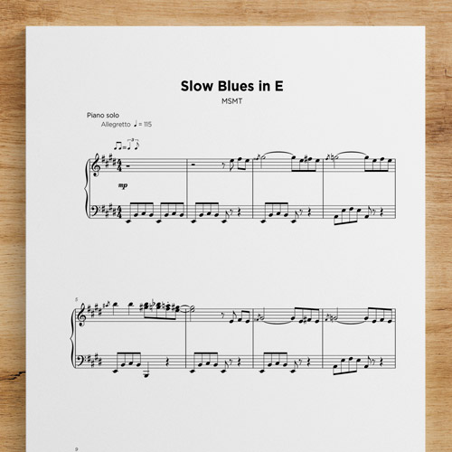Slow Blues in E- Sheet Music by My Sheet Music Transcriptions