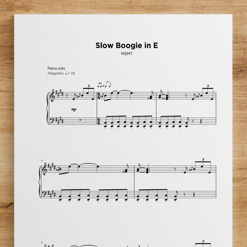Slow Boogie in E - Sheet Music by My Sheet Music Transcriptions