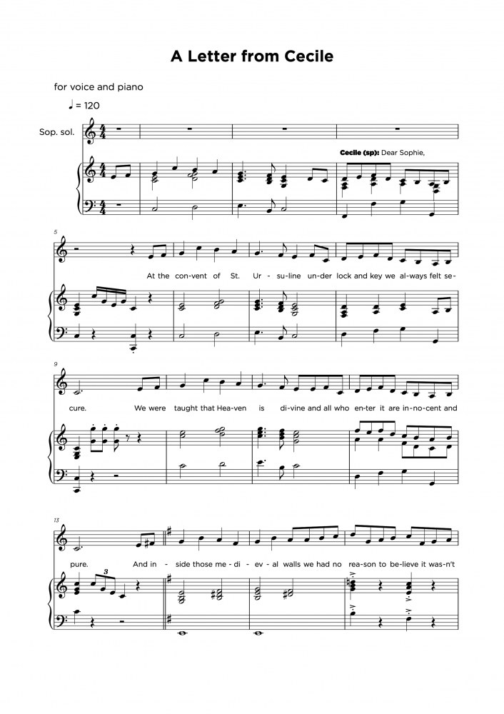 A letter from cecile - Piano & Vocal sheet music