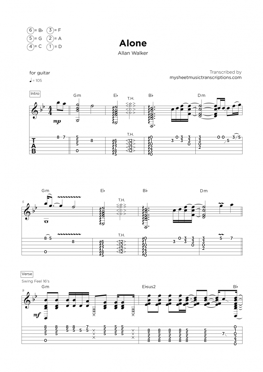 Alone - Guitar sheet transcription service