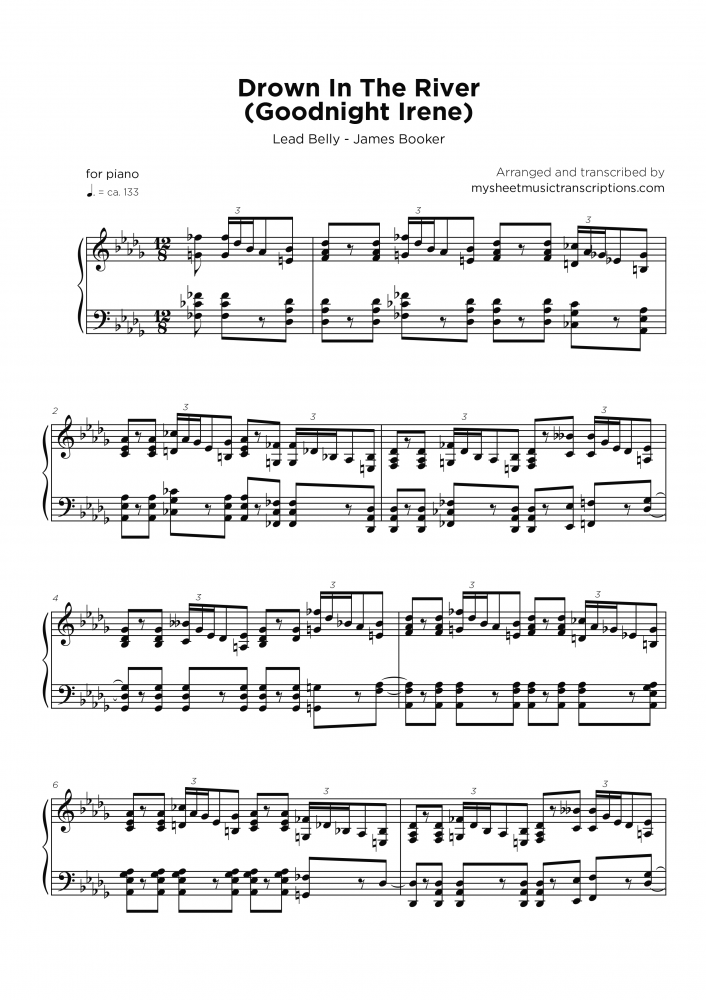 Drown in the river - Piano blues sheet music