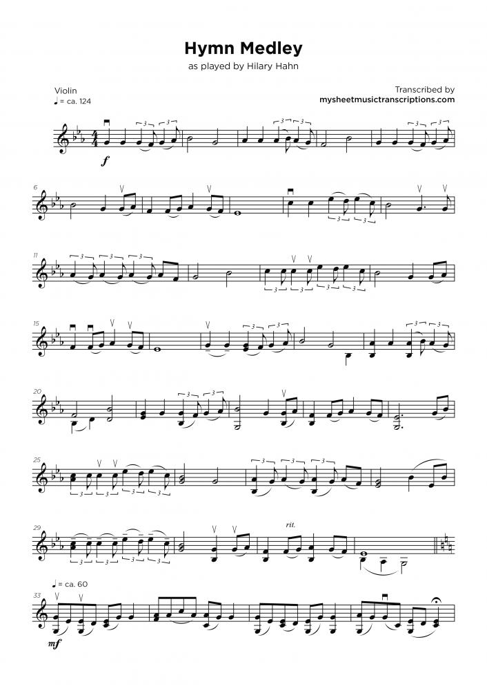 Hymn Medley (as played by Hilary Hahn) - Sheet Music