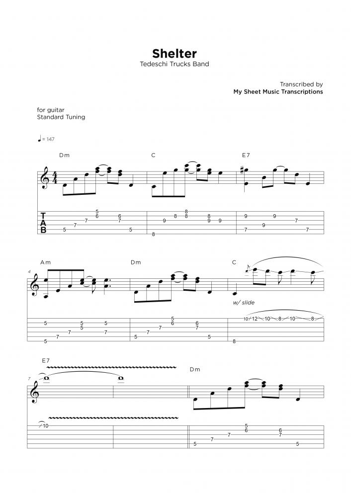 Shelter - Guitar sheet transcription service
