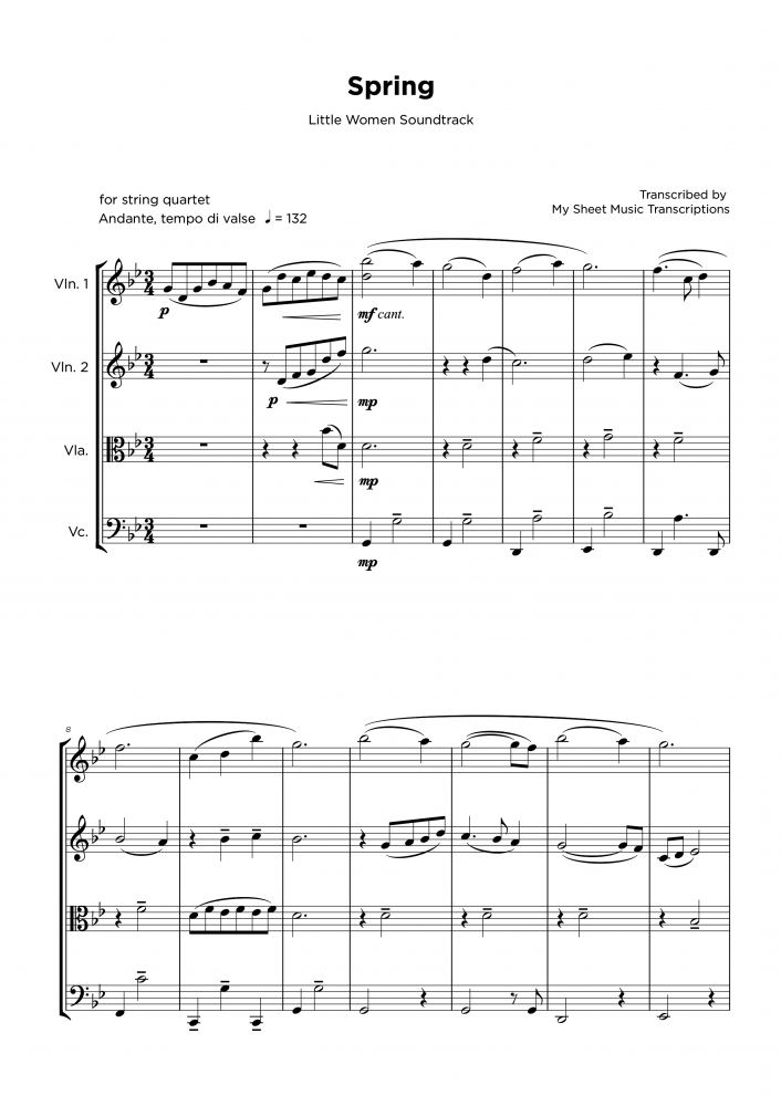 Spring - Little Women - String quartet sheet music