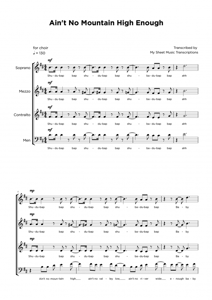 Ain't no mountain high enough - Vocal ensamble sheet music