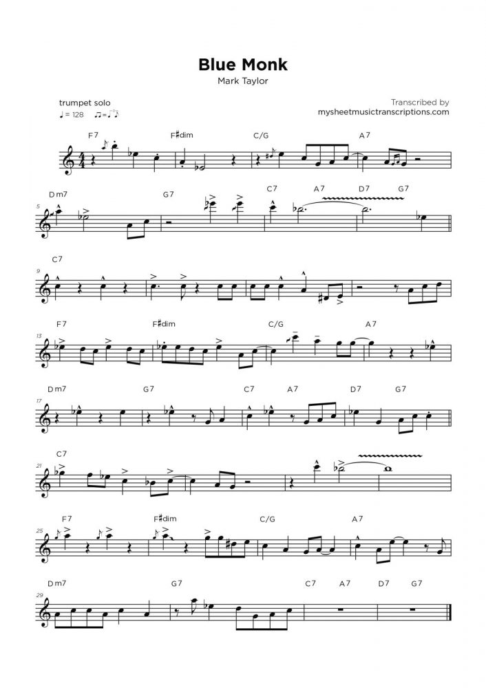 Blue Monk - Mark Taylor sheet music