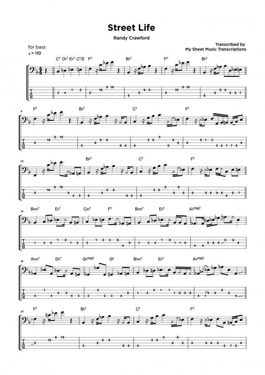 Street Life - Randy Crawford - Bass Solo sheet music