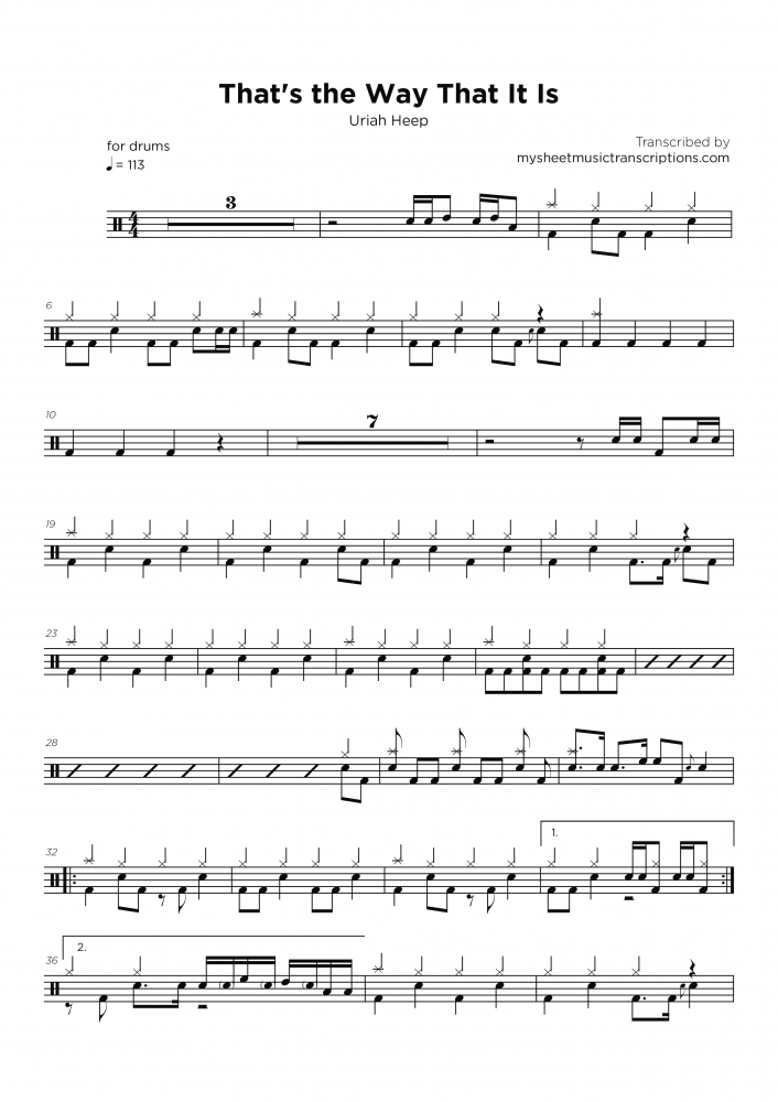 That's the way that it is - Uriah Heep - Drums sheet music