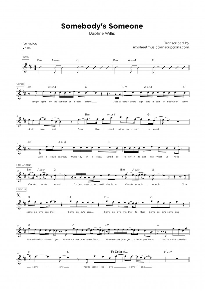Somebody's Someone - Vocal lead sheet music