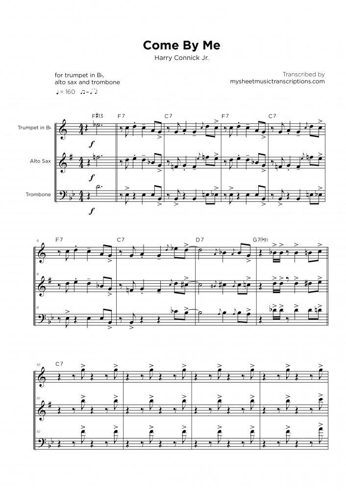 Come by Me - Harry Connick Jr. - Horn section sheet music
