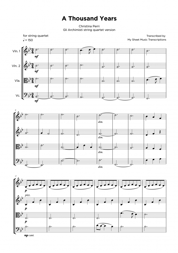 A Thousand Years - Christina Perri - String quartet sheet music