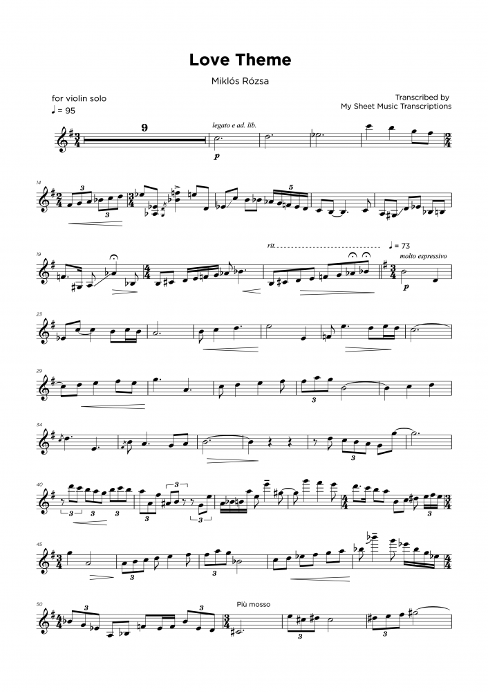 Love Theme - Miklós Rózsa - Violin sheet music