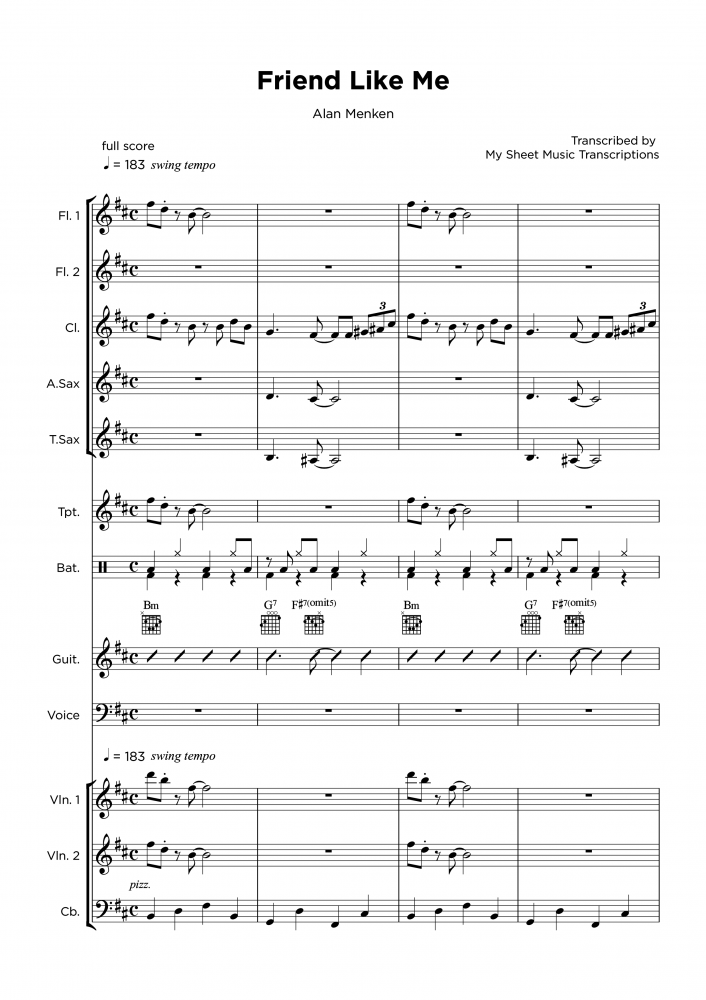 Friend like me - Full Band sheet music