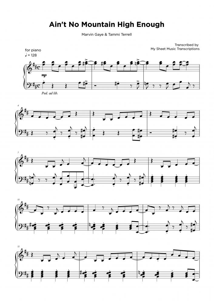Ain't no mountain high enough - Piano transcription sheet