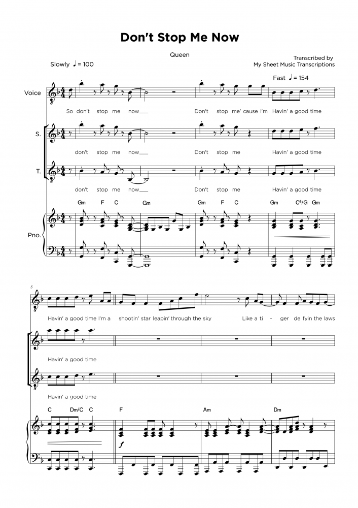 Don't Stop Me Now - Queen - Piano & Vocal sheet music
